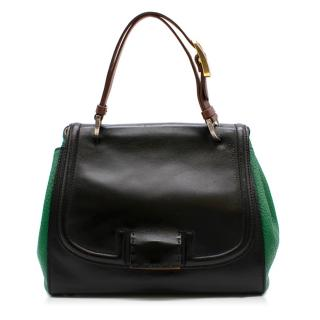 Fendi Black & Green Leather Silvana Top-handle Shoulder Bag