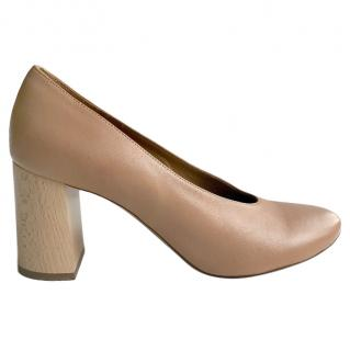 Chloe Round Toe Wooden Block Heel Pumps