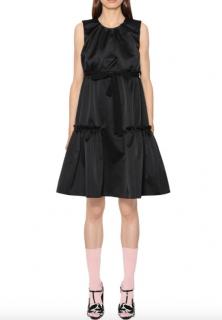 Rochas Black Satin Tiered Peplum Dress