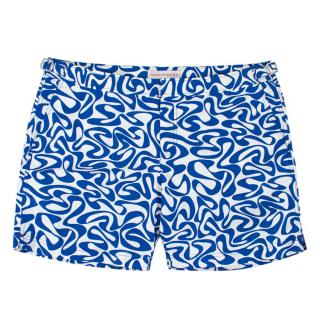 Orlebar Brown Blue & White Printed Swim Shorts