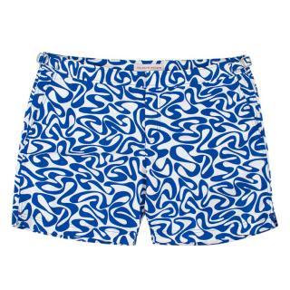 Orlebar Brown Blue & White Printed Swim Shorts