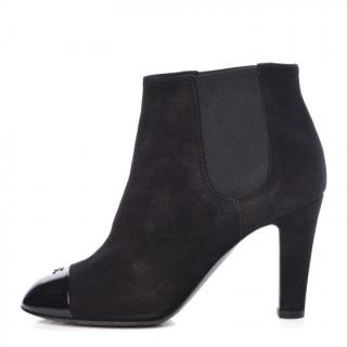 Chanel Distressed Suede CC Ankle Boots