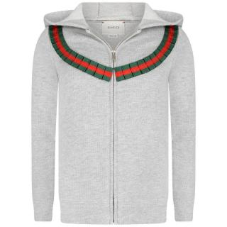 Gucci Girls Cotton Grey Embroidered Hoodie