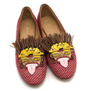 Dsquared2 Red Textile Aboriginal Embellished Flats