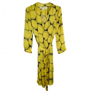 Clements Ribeiro Yellow & Navy Satin Shirt Dress