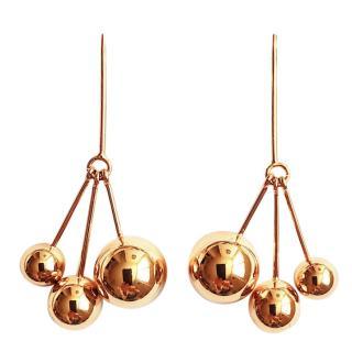 Celine Gold Plated 24K triple dot earrings