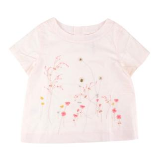 Bonpoint Girl's Pale Pink Floral Embroidered Top