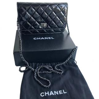 Chanel black patent quilted wallet on chain bag WOC