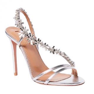 Aquazurra Chateau Crystal Embellished sandals.