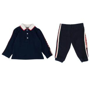 Gucci Kids 6-9M Navy Cotton Jersey Polo & Joggers Set