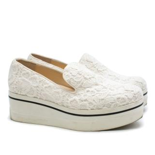Stella McCartney White Floral Embroidered Platform Sneakers
