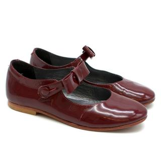 Bonpoint Girl's Patent Leather Burgundy Red Ballet Flats