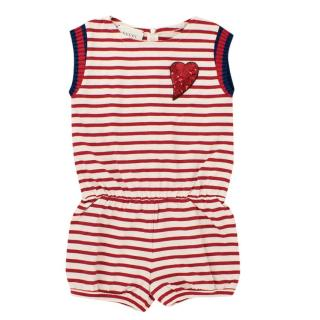 Gucci Girls 6 Years Cotton Striped Embroidered Playsuit