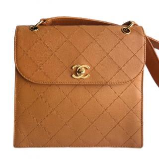 Chanel orange caviar leather shoulder bag