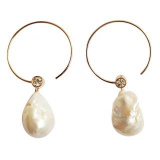 Celine Baroque natural pearl hoop earrings