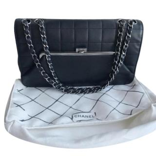 Chanel Black Purse Front Calf Leather Flap Bag