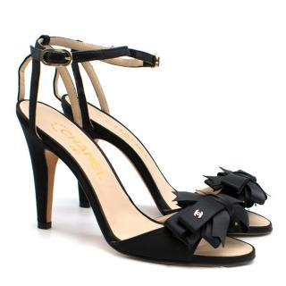 Chanel Black Satin Embellished Heeled Sandals
