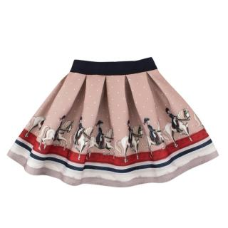 Monnalisa Girls Neoprene Printed Beige Flared Skirt