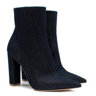 Gianvito Rossi Shiny Blue Denim Heeled Ankle Boot