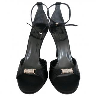 Gucci Vintage Black Satin Embellished Sandals