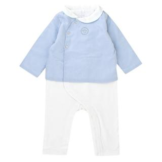 Laranjinha Baby 9M Cotton White & Blue Romper