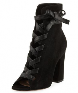 Gianvito Rossi Fraser Suede Open-Toe Lace-Up Booties