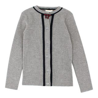 Gucci Girls 5 Years Wool Grey Knit Cardigan with Bow