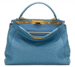 Fendi Small Blue Ostrich  Peekaboo Bag