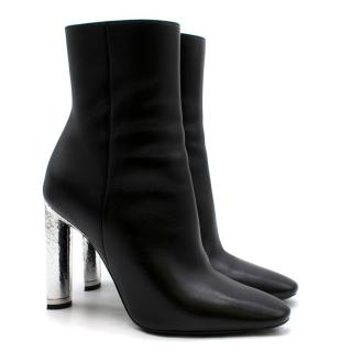 Dior Black & Silver Leather Ankle Boots