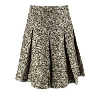 Jonathan Saunders Wool & Silk Pleated High-Waisted Skirt
