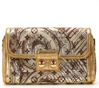 Louis Vuitton Lizard & Brocade Thaile Clutch Bag