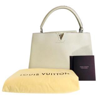 Louis Vuitton Cream Leather Capucines MM Tote