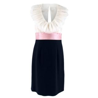 Escada Navy, White & Pink Ruffled Fitted Dress