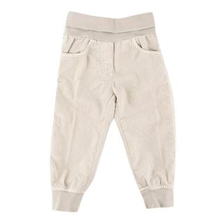 Il Gufo Baby Boy 18M Beige Cotton Velour Trousers