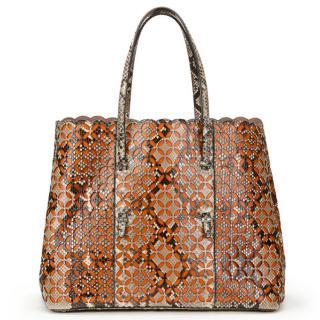 Alaia Orange Leather & Python Lasercut Shopper