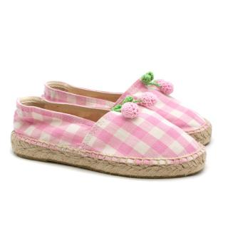 Bonpoint Pink Checkered Knit Cherry Espadrilles