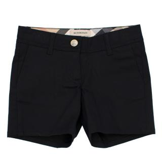Burberry Girls 4Y/102cm Black Cotton Shorts