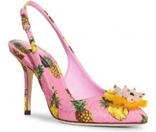 Dolce & Gabbana Pink Pineapple Slingback Sandals
