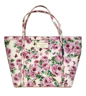 Dolce & Gabbana Pink Rose Print Tote Bag