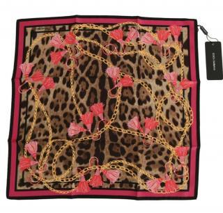 Dolce & Gabbana Leopard print rope trim scarf