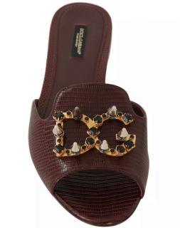 Dolce & Gabbana Brown Lizard Crystal Embellished Pumps