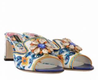 Dolce & Gabbana Sicily Print Crystal Embellished Mules