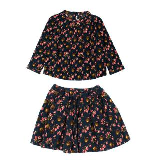 Bonpoint Girl's Navy Floral Two-Piece Skirt and Top