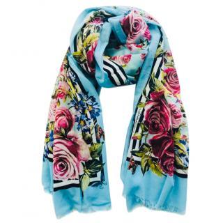 Dolce & Gabbana Blue Rose Print Wrap Scarf