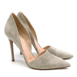 Gianvito Rossi Light Grey Suede D'Orsay Pumps