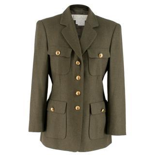 Escada Olive Green Single breasted Cashmere Blazer