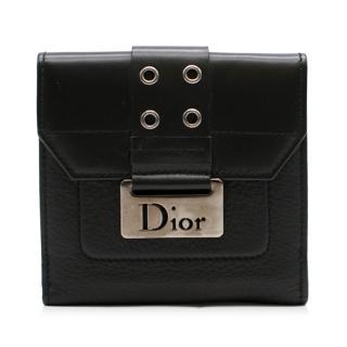 Dior Black Leather Buckle Detail Bi-Fold Wallet