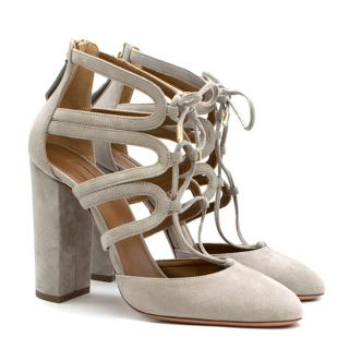 Aquazzura Light Grey Suede Lace Front Heels