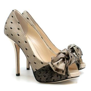 Dior Nude Silk Lace Embellished Pumps