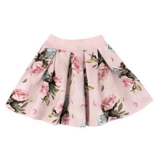NJ (Alessa M) Monnalisa Girls 3Y Pink Pleated Floral Circle Skirt